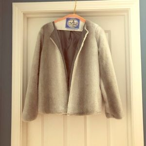 Gray and white faux fur jacket. Satin lining. Sz M